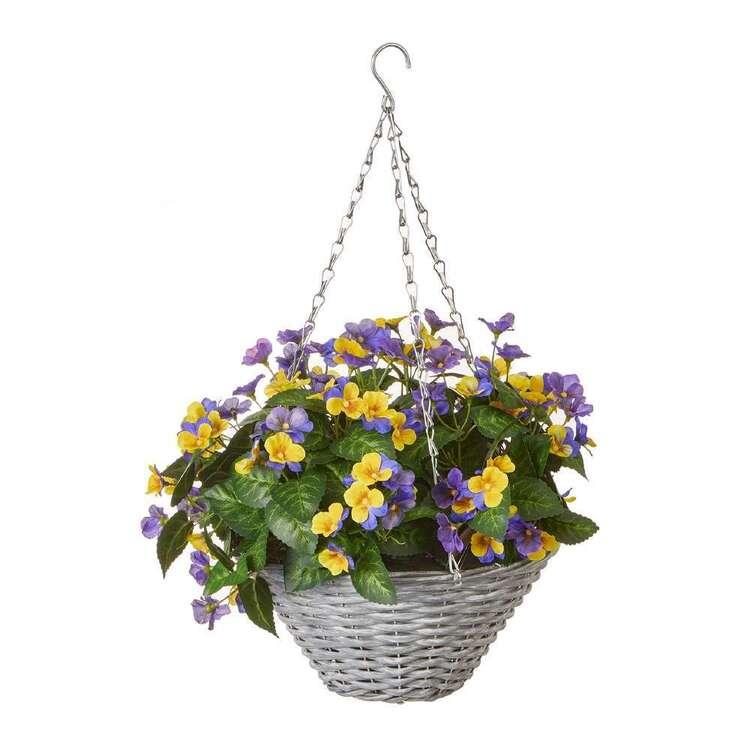 Botanica Wicker Hanging Basket With Pansies
