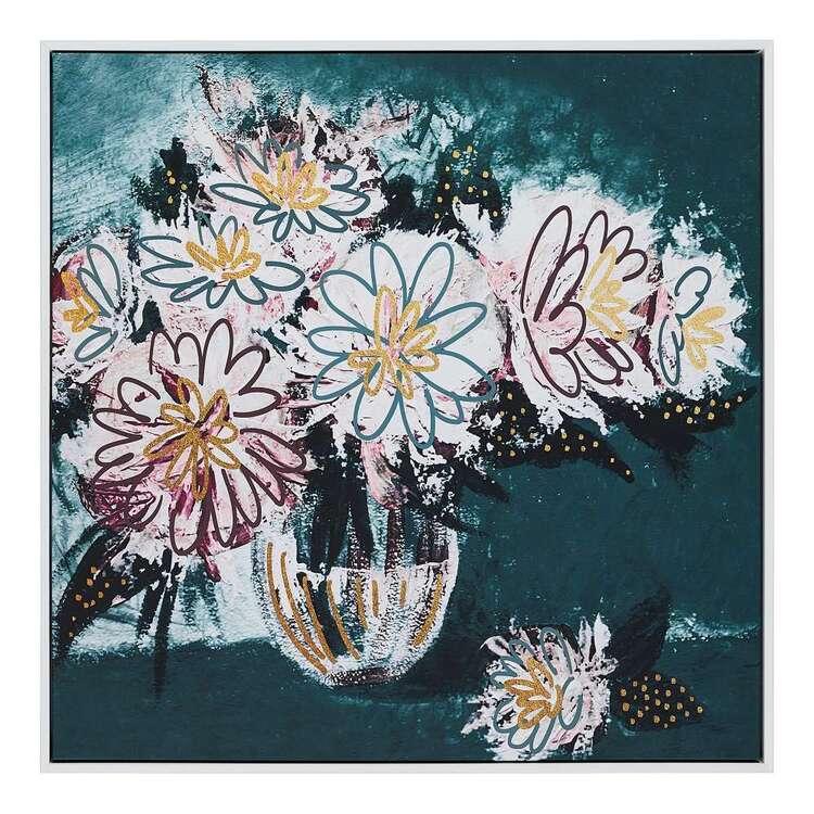 Cooper & Co Platinum Floral Lines Framed Canvas