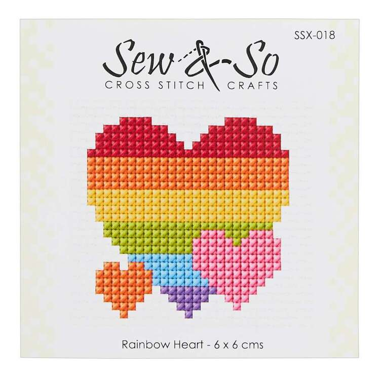 Sew & So Rainbow Heart Cross Stitch Kit