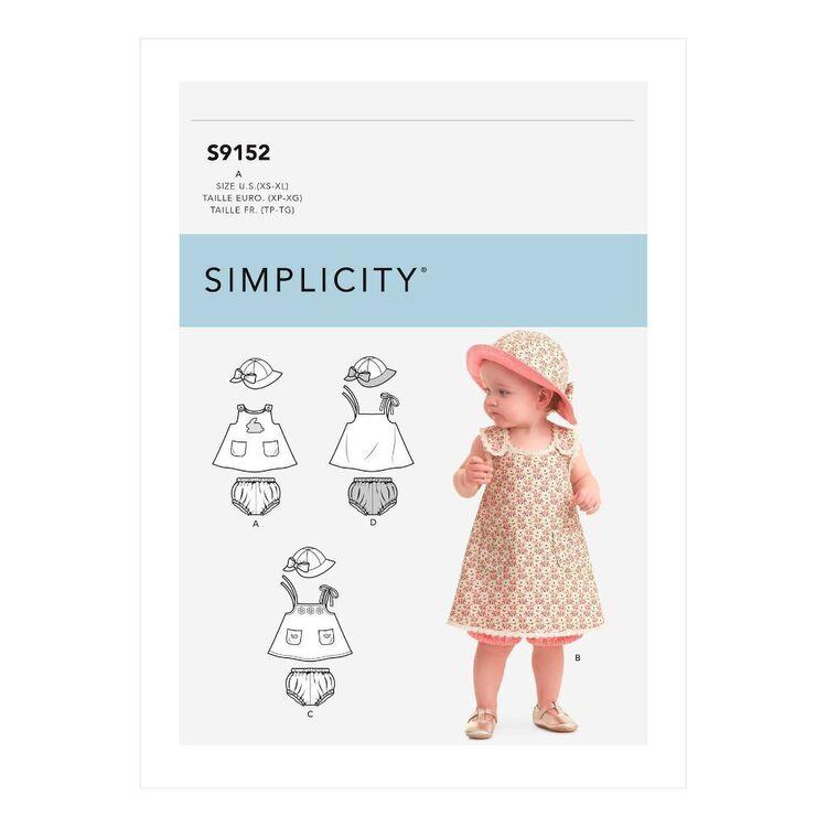 Simplicity Sewing Pattern S9152 Babies' Dress, Panties & Hat