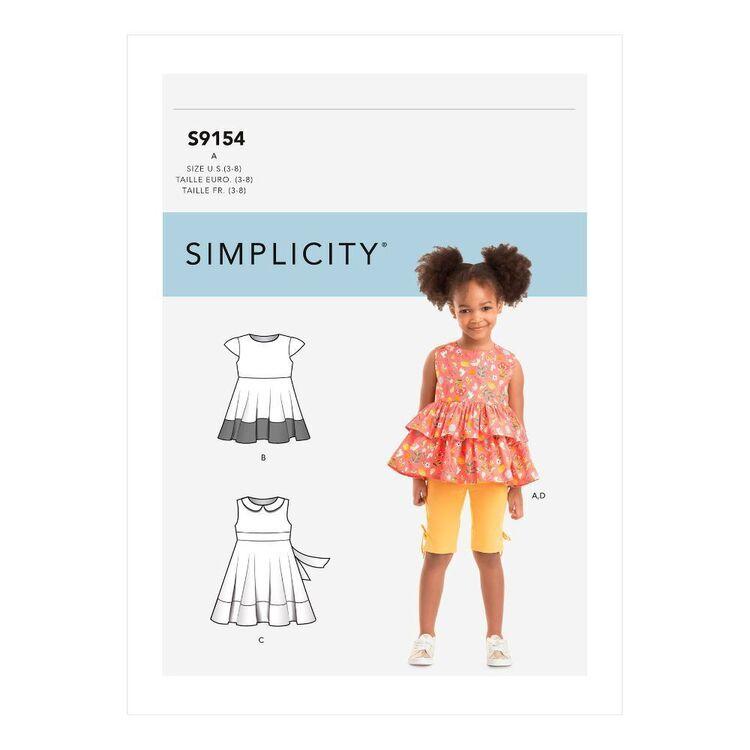Simplicity Sewing Pattern S9154 Children's Dress, Top, Tunic & Leggings