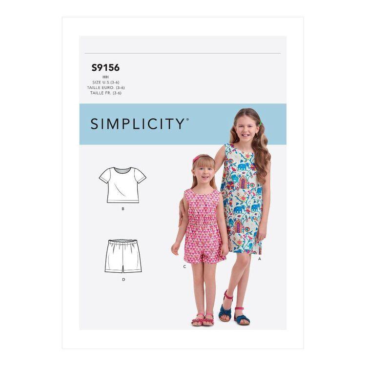 Simplicity Sewing Pattern S9156 Children's & Girls' Top, Shorts, Dress & Jumpsuit