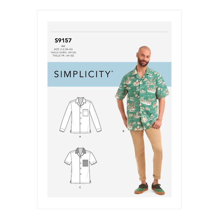 Simplicity Sewing Pattern S9157 Men's Open Pointed Collar Shirts