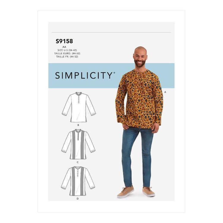 Simplicity Sewing Pattern S9158 Men's Half Buttoned Shirts