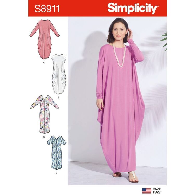 Simplicity Pattern 8911 Misses' Knit Caftans
