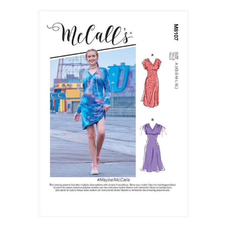 McCall's Pattern 8107 Misses' V-Neck Pull-Over Knit Dresses With Drawstring Detail