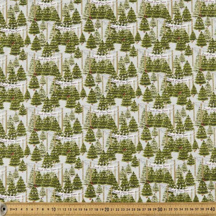 3 Wishes Christmas Home Holidays Trees Printed 112 cm Cotton Fabric