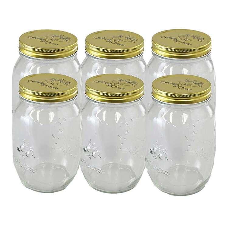 Lemon & Lime Quilted Glass 6 Pack 1L Conserve Jar