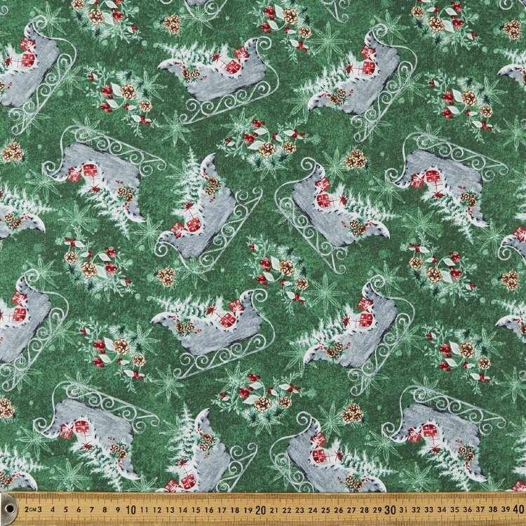 Joyful Tidings Christmas Sleighs Cotton Fabric
