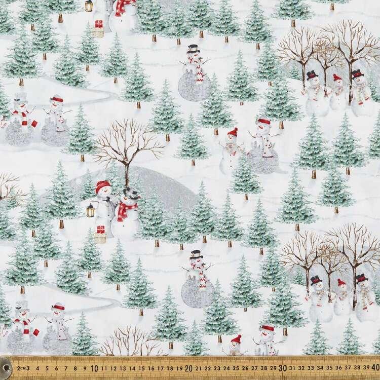 Joyful Tidings Scenic Snowman Cotton Fabric