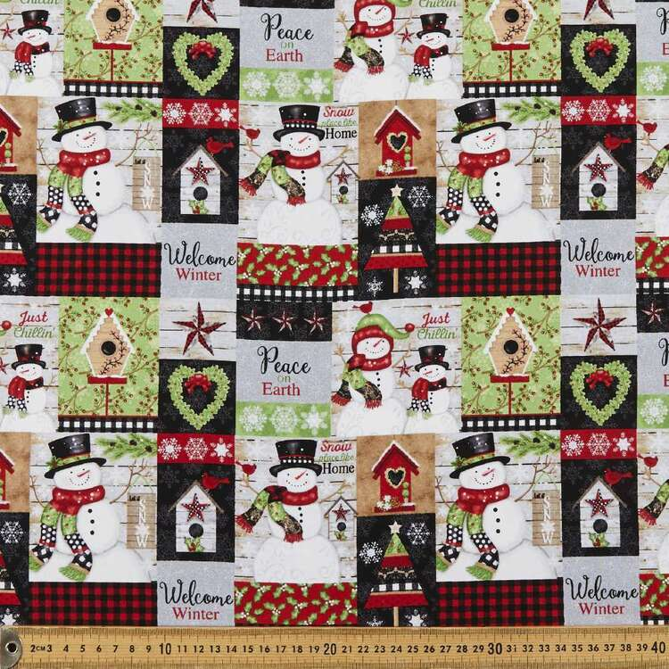 Snow Place Like Home Collage Printed 112 cm Cotton Fabric