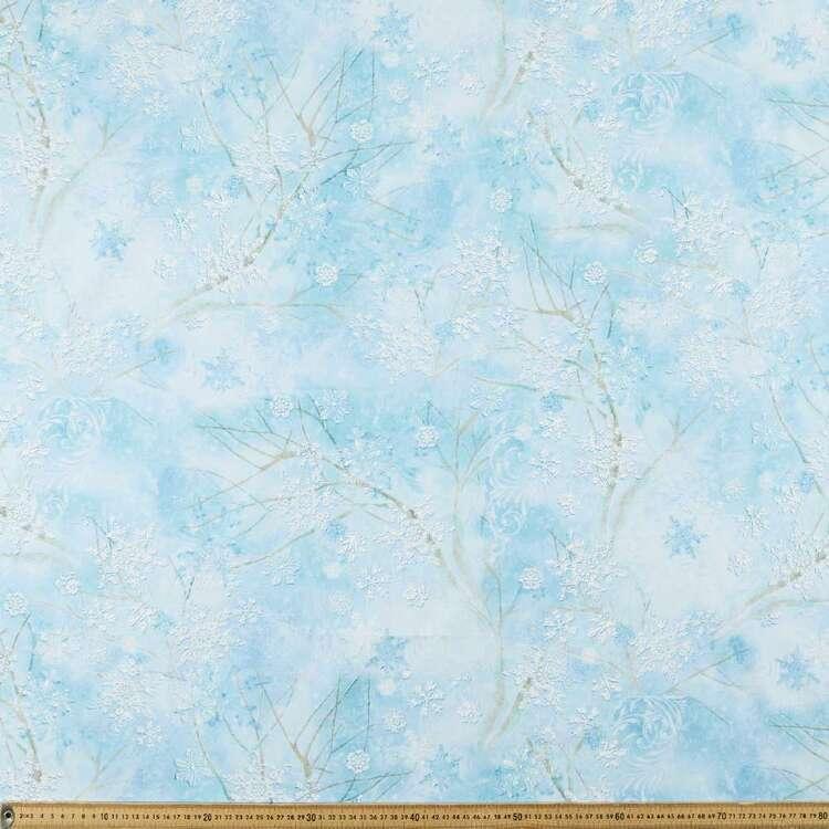 Winter Wonderland Swirl Snowflake Printed 112 cm Cotton Fabric
