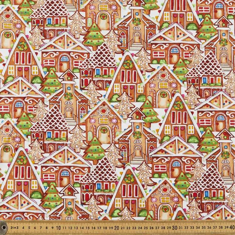Gingerbread Factory Houses Printed 112 cm Cotton Fabric