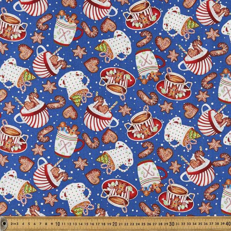 Gingerbread Factory Cups & Cookies Printed 112 cm Cotton Fabric