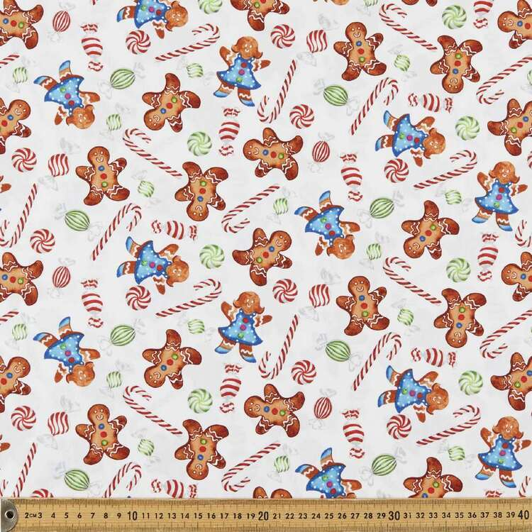 Gingerbread Factory Cookies & Candy Printed 112 cm Cotton Fabric