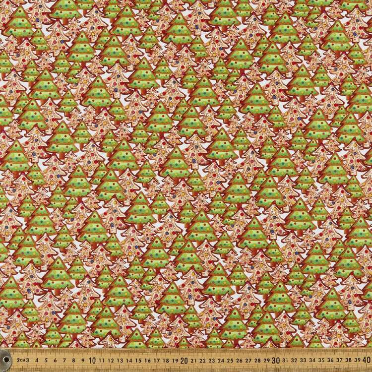 Gingerbread Factory Tree Cookies Printed 112 cm Cotton Fabric