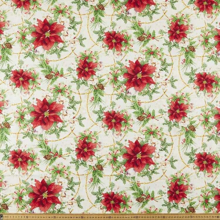 Christmas Legend Poinsettia Printed 112 cm Cotton Fabric