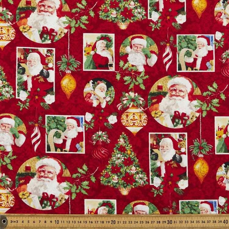 Christmas Legend Santa Collage Printed 112 cm Cotton Fabric