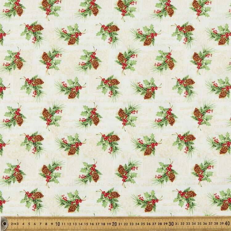 Christmas Legend Holly Leaf & Berry Printed 112 cm Cotton Fabric
