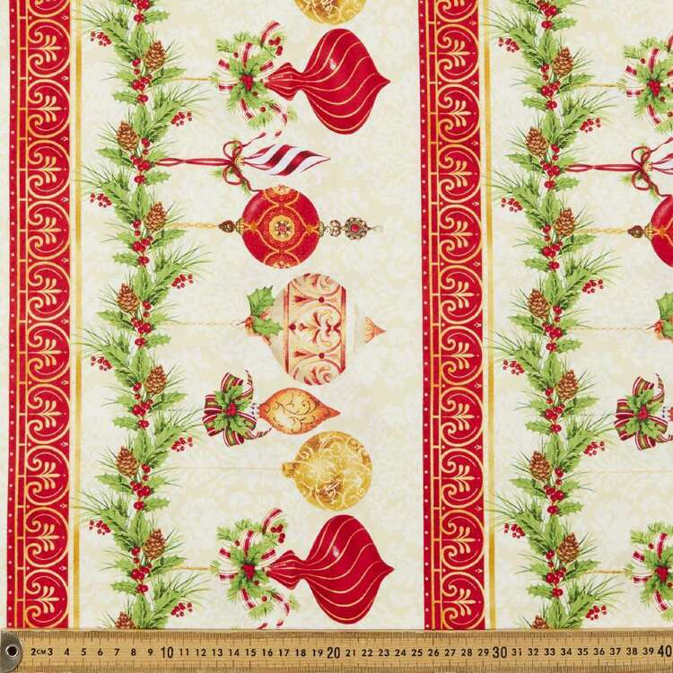 Christmas Legend Border Stripe Printed 112 cm Cotton Fabric