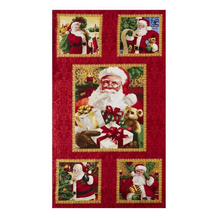 Christmas Legend Santa Block Printed 112 cm Cotton Fabric Panel