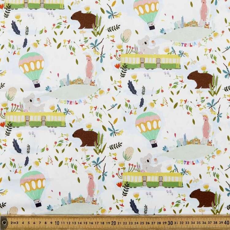 Suki McMaster Koala Tram Digital Printed 112 cm Cotton Montreaux Drill Fabric