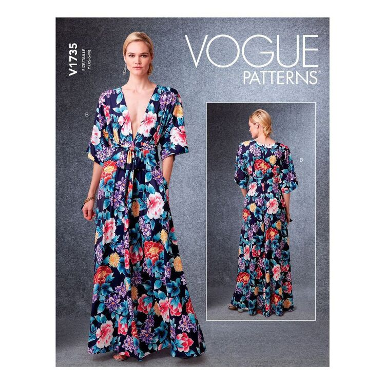 Vogue Sewing Pattern V1735 Misses' Deep-V Kimono-Style Dresses with Self-Tie