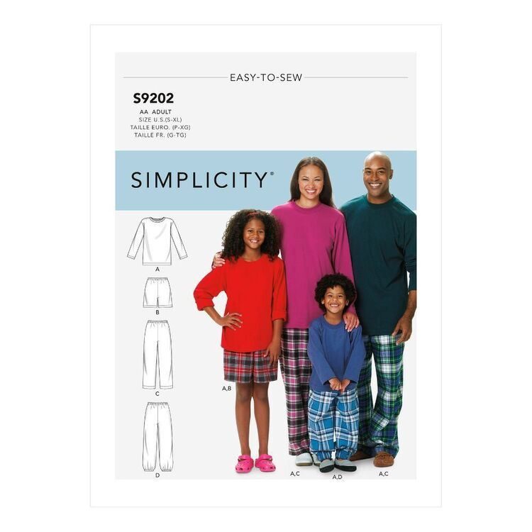 Simplicity Sewing Pattern S9202 Misses'/Men's/Children's/Boys'/Girls' T-Shirt, Shorts & Pants