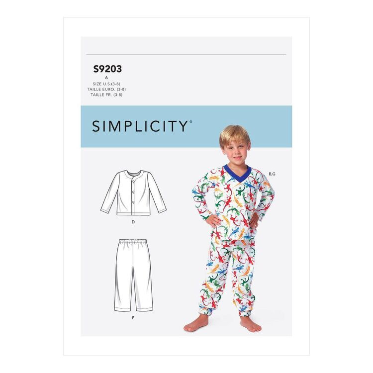 Simplicity Sewing Pattern S9203 Children's/Boys' Tops, Shorts & Pants