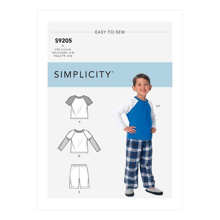 Simplicity Sewing Pattern S9205 Children's/Boys' Raglan Sleeve Tops, Shorts & Pants
