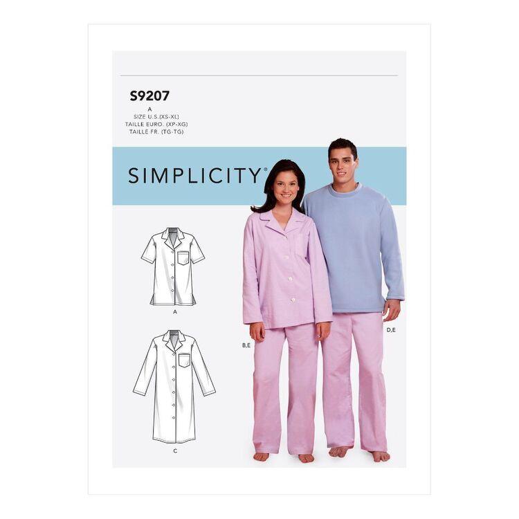 Simplicity Sewing Pattern S9207 Misses'/Men's Tops, Nightshirt & Pants