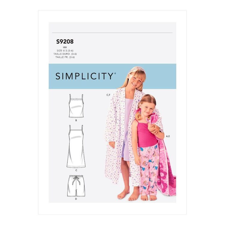 Simplicity Sewing Pattern S9208 Children's/Girls' Robe, Belt, Tops, Gown, Shorts & Pants
