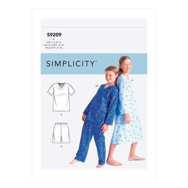 Simplicity Sewing Pattern S9209 Boys'/Girls' V-Neck Shirts, Gown, Shorts & Pants