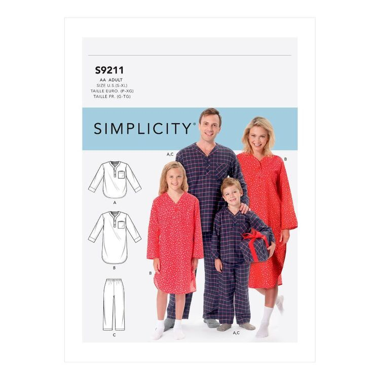 Simplicity Sewing Pattern S9211 Misses'/Men's/Boys'/Girls' Patch Pocket Top, Nightshirt & Pants
