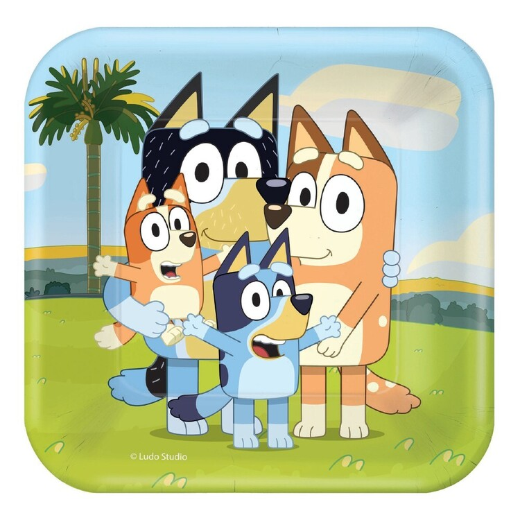 Bluey 18 cm Square Paper Plate 8 Pack