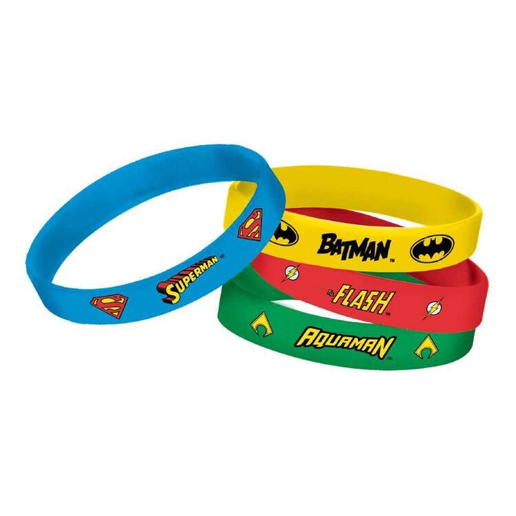 Justice League Heroes Unite Rubber Bracelets 4 Pack