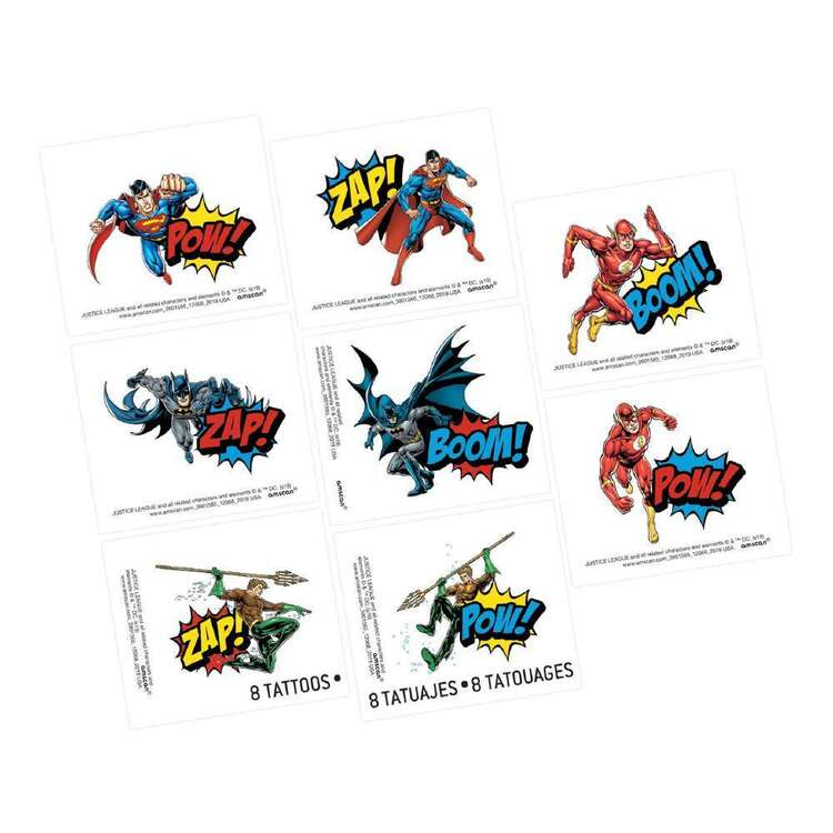 Justice League Heroes Unite Tattoo Favours