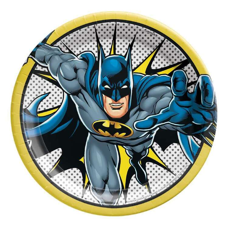 Batman Heroes Unite Round Paper Plates 8 Pack