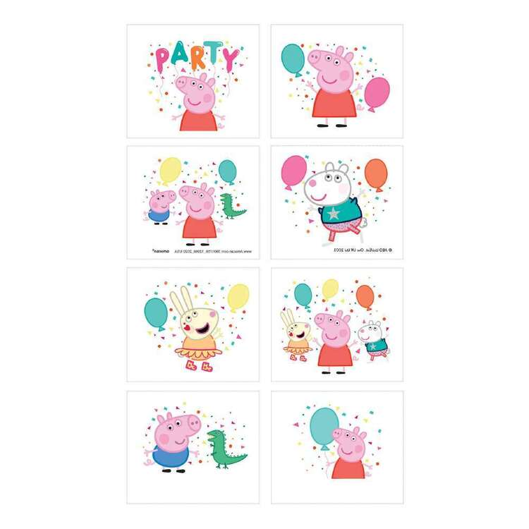 Peppa Pig Temporary Tattoo Favours 8 Pack