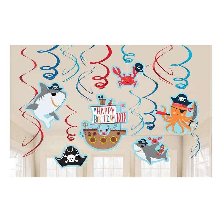 Ahoy Birthday Spiral Swirl Hanging Decorations 12 Pack