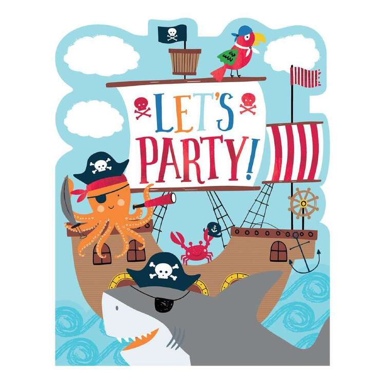 Ahoy Birthday Novelty Invitations 8 Pack