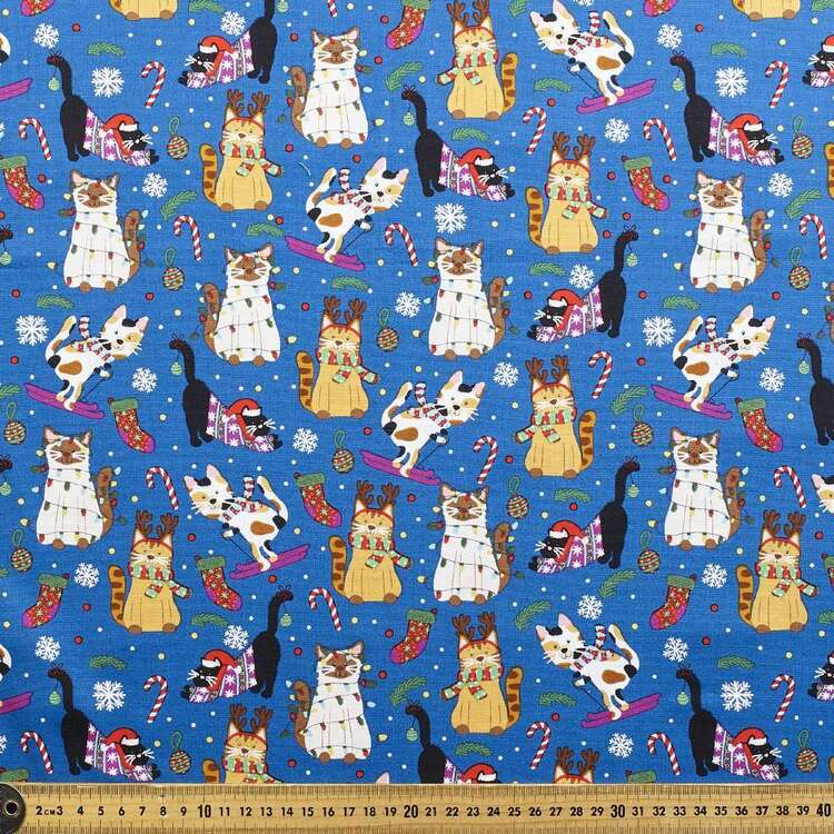 Robert Kaufman Meowy Christmas 112 cm Cotton Fabric