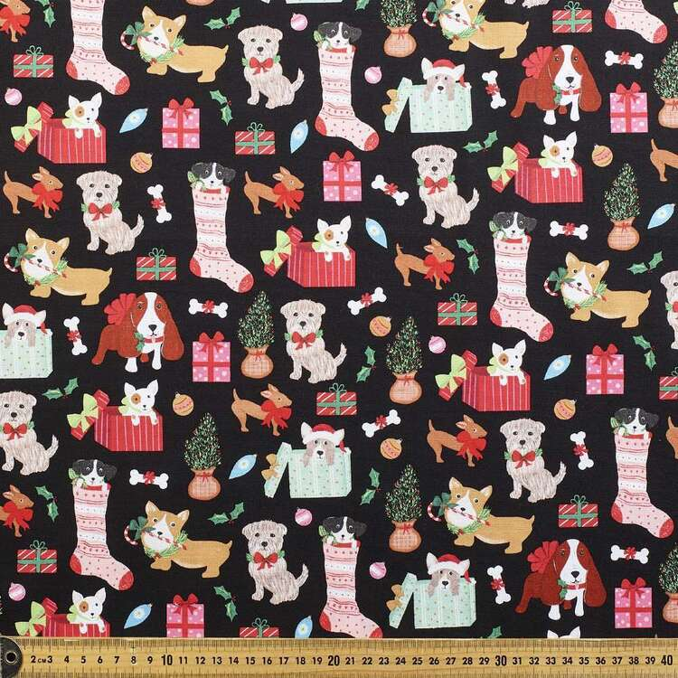Robert Kaufman Puppy Gift Printed 112 cm Cotton Fabric