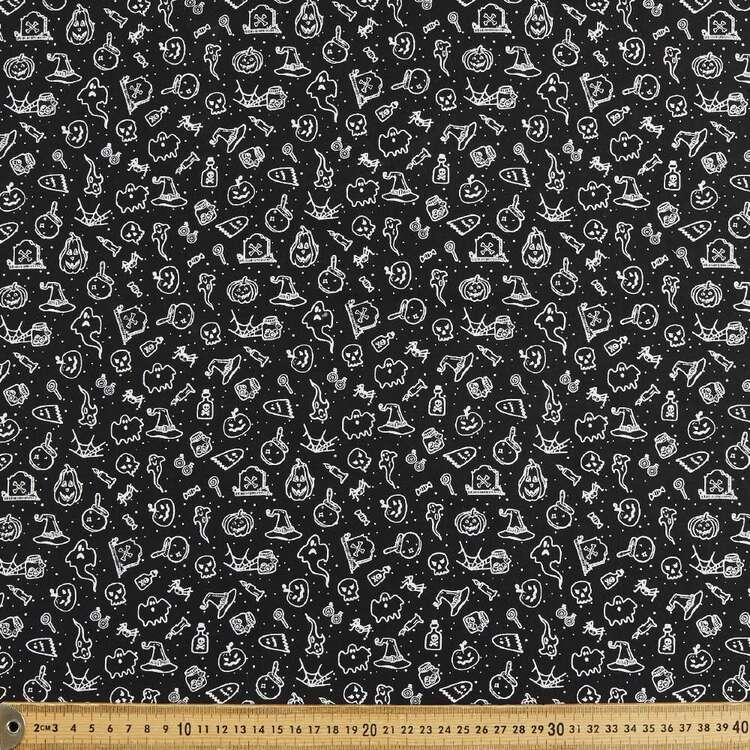 Halloween Sketch Printed 112 cm Cotton Fabric