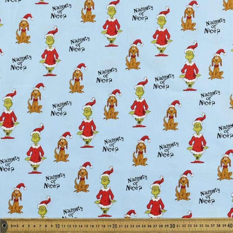 Grinchmas Christmas Naughty Or Nice Cotton Fabric