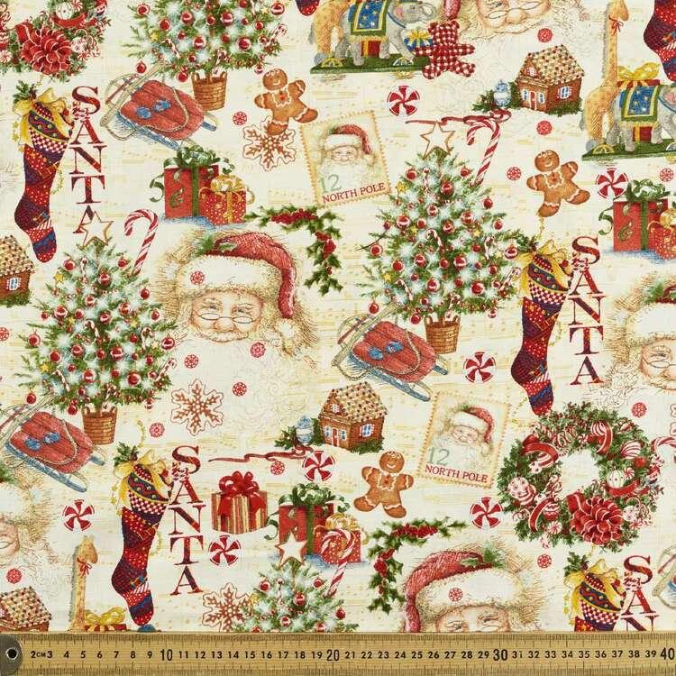 Robert Kaufman Christmas Vintage Santa Printed 112 cm Cotton Fabric