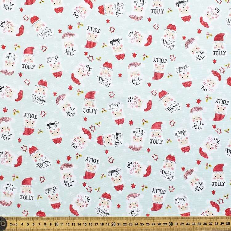 Robert Kaufman Christmas Jolly Santa Printed 112 cm Cotton Fabric