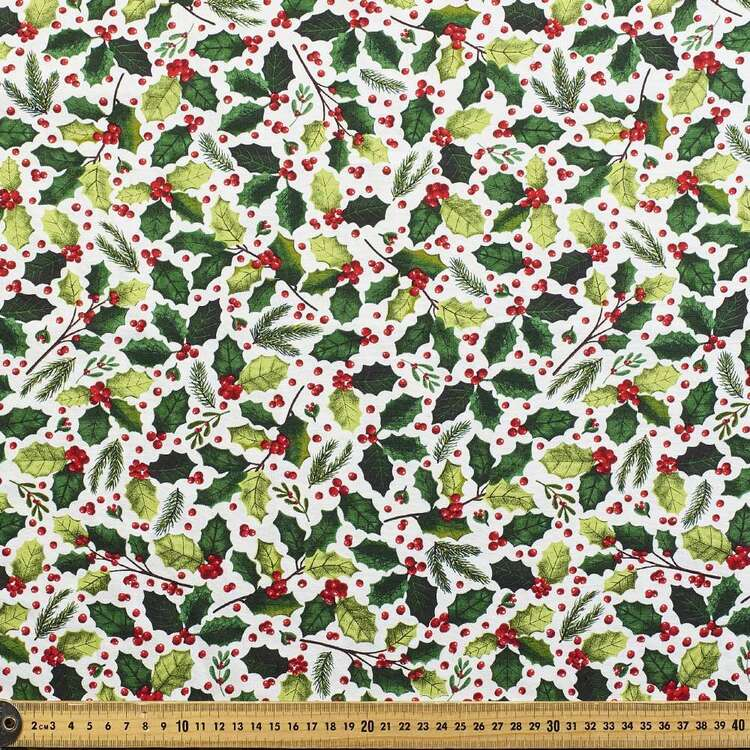Robert Kaufman Christmas Holly Berries Printed 112 cm Cotton Fabric