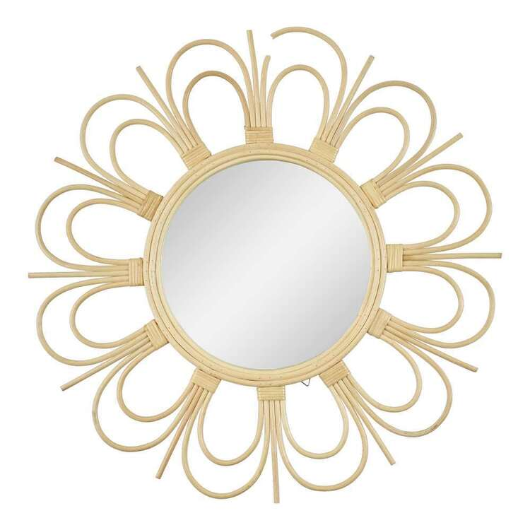 Living Space Rattan Framed Round Mirror