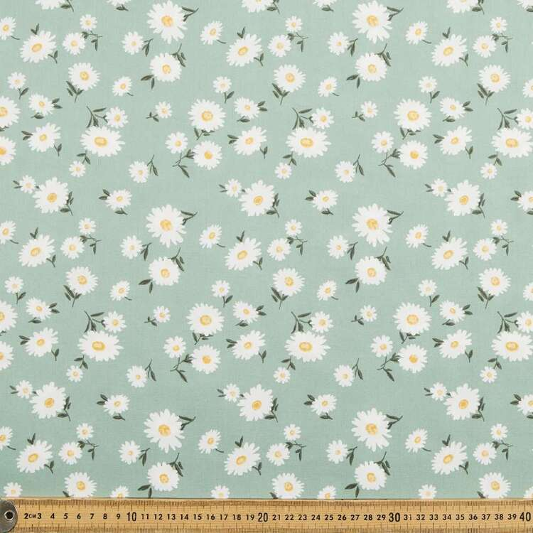 Daisy Greens Printed 112 cm Cotton Poplin Fabric